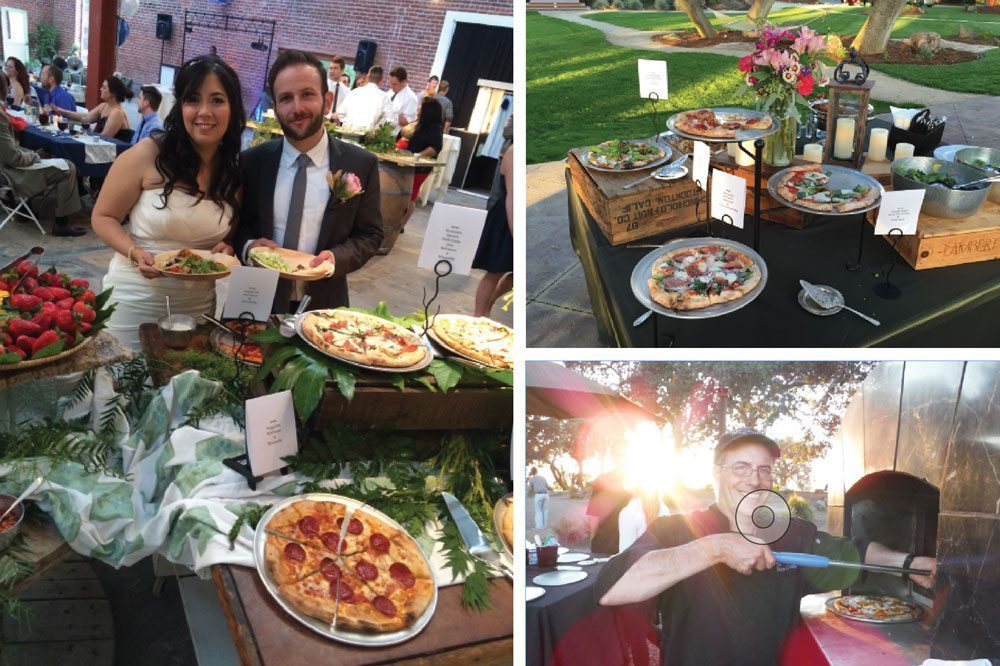 eat pizza at a wedding